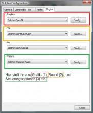 Übersichtsseite für Grafik-, Sound- und Controller-Einstellungen